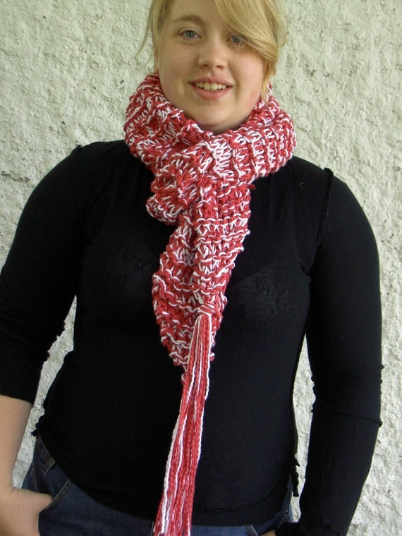 Raspberry Sorbet Cotton Handknit Scarf