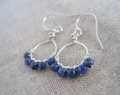 Mini Hoop of Sterling Silver and Denim Blue Sodalite Wrapped Round Stones