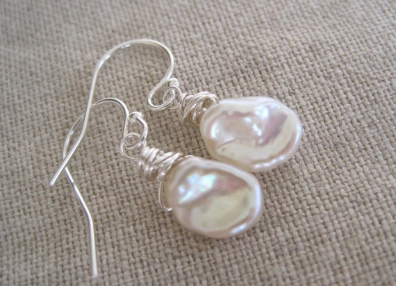 Dangle Earrings Soft White Sculptural Keshi Pearl Simple Wrapped