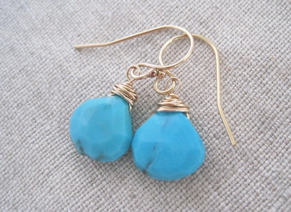 Sleeping beauty turquoise and gold briolette wrapped stone sensitive earrings