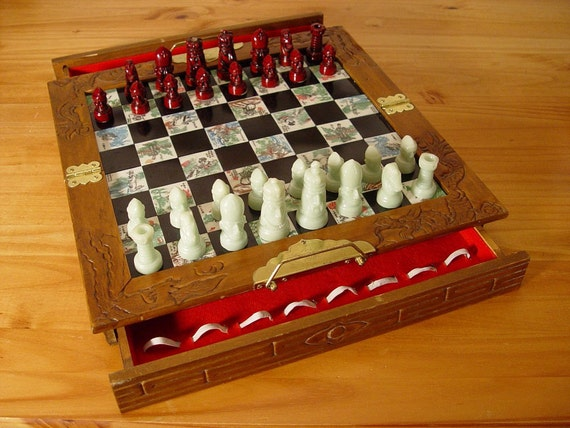 Vintage Asian Chinese Chess Set Hand Painted Tiles Wood Box