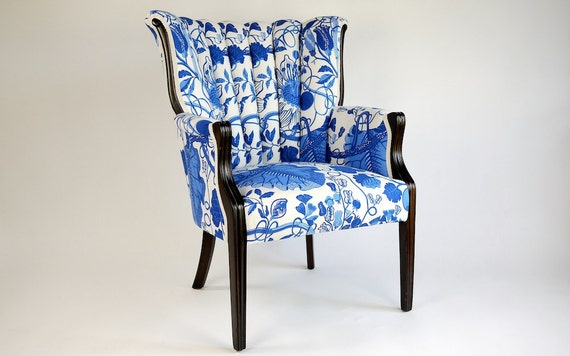 Blue Leaf Channel Chair