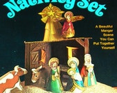 Beautiful Vintage Cardboard Nativity Set That You Assemble - Complete and Unused