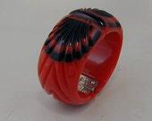 Jorge Caicedo Montes de Oca Bakelite Hand Carved Red and Black  Wings Hinged Bracelet