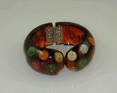 Hand Crafted Bakelite Root Beer Multi Dot Hinged Bracelet.