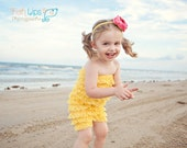 Etsy SPECIAL sale. Yellow Bubble lace petti romper / ruffles bloomer..3 sizes available newborn to 3t/4t. Great photo prop. you pick size