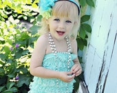 You Pick Size. Chicaboo Aqua Ruffled lace petti romper / bloomer. Sizes for ages newborn to 4/5 years. More Colors available