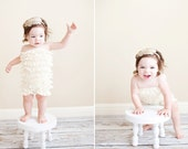 Chicaboo Buttercream Ivory Bubble lace petti romper / ruffles bloomer. size 2-4 years, ready to ship. Special Etsy price.