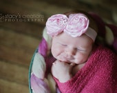 """Chicaboo """"Addison"""" Sweet Pink satin rolled rosette headband with jewel detailed center  Perfect photo prop with my rompers"""