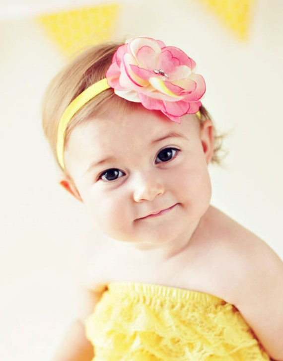 Beautiful Pink and Yellow Flower headband with rhinestone center.  Perfect photo prop with my rompers, more colors available