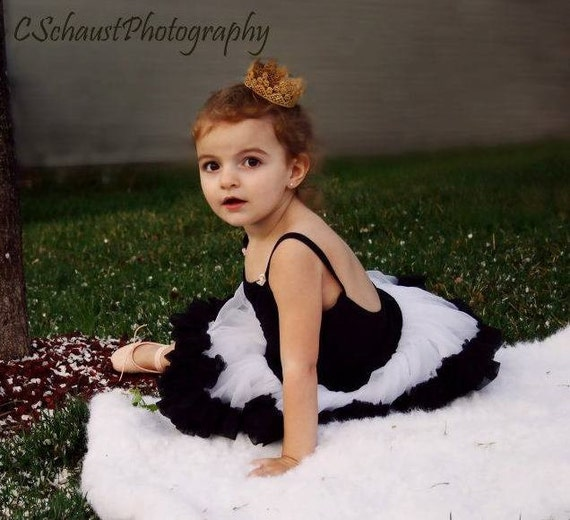Clearance ..Soft chiffon Black & White  pettiskirt perfect for birthday outfit or photo shoot..Fits ages 2-4 years..READY to ship