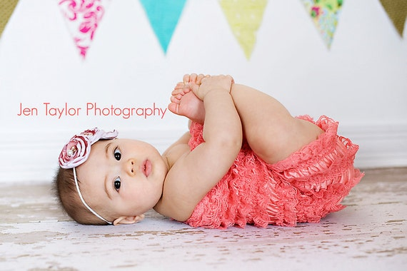You Pick Size. Chicaboo Coral Ruffled lace petti romper / bloomer. Sizes for ages newborn to 4/5 years. More Colors available