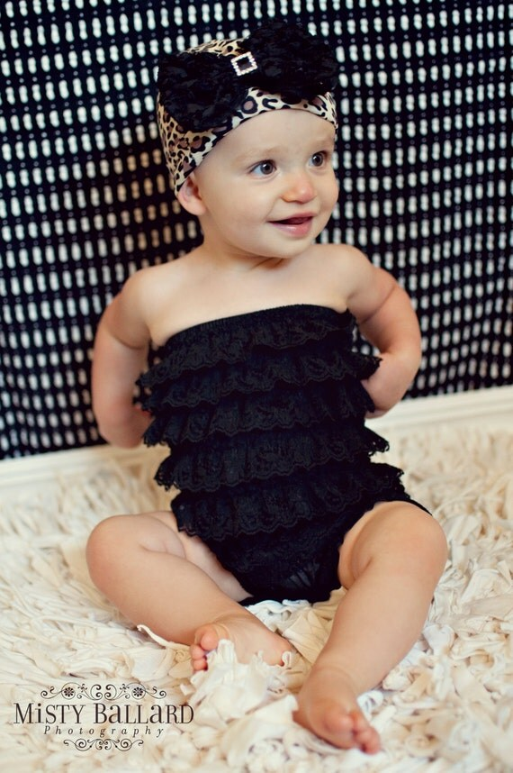 You Pick Size. Chicaboo Black Ruffled lace petti romper / bloomer. Sizes for ages newborn to 4/5 years. More Colors available
