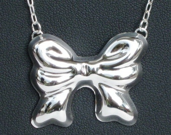 Recycled Sterling Silver Bow Necklace