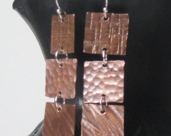 Multi-textured Copper Tile Dangle Earrings by Resurrection Silver