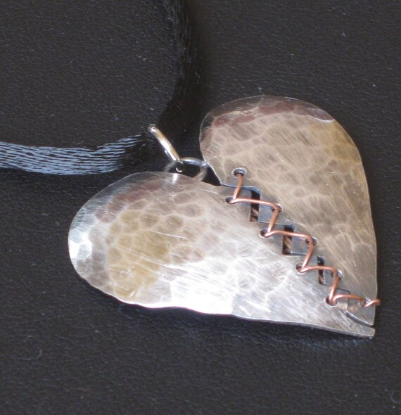 Sterling Silver and Copper Heart Necklace - Mended Heart