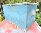 Vintage Industrial Box Galvanized Blue Metal Storage Organizer Hinged Lid
