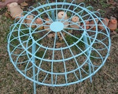 Reserved for Katherine    Vintage Patio Table Retro Wire Aqua Side End Table Mid Century Metal Round
