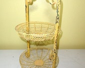 Vintage French Twisted Wire Basket Stand Yellow Metal Organizer