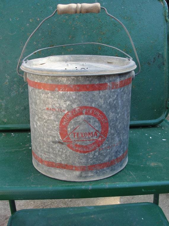 Vintage Galvanized Metal Fishing Bucket By Bluebonnetfields