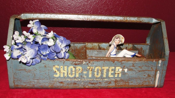 Vintage Industrial Metal Tote Tool Shop