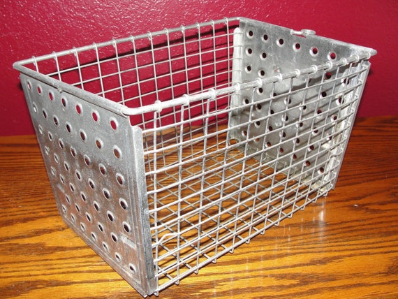 vintage old school wire basket locker basket dotty metal with. Black Bedroom Furniture Sets. Home Design Ideas