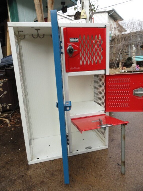 Vintage Industrial Metal Locker 4 Doors Red White Blue