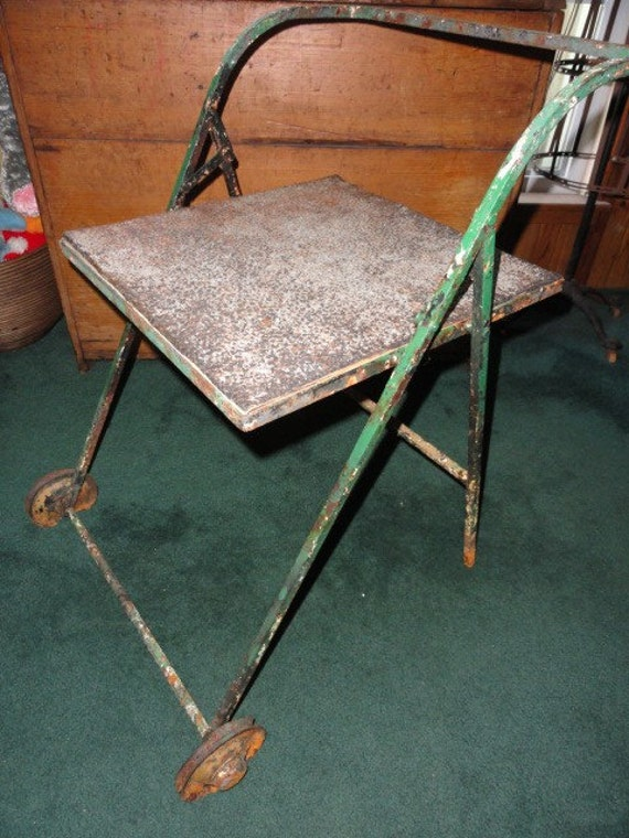 Vintage Table Garden Cart Rustic Metal Shabby Chic End Side