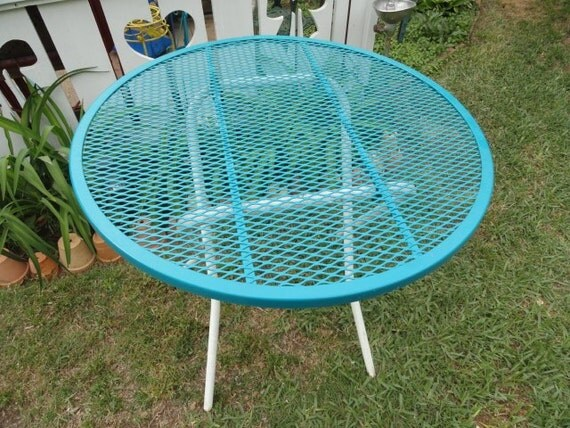 Vintage Table Folding Metal Turquoise Garden By
