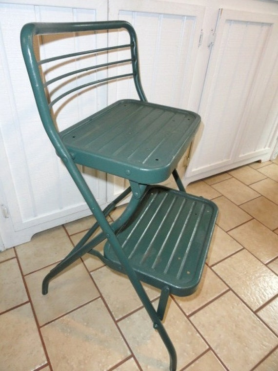 Vintage Utility Stool Metal Kitchen Step Ladder Green Folding