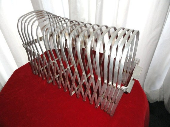 Vintage Industrial Metal Accordion File Holder Expandable