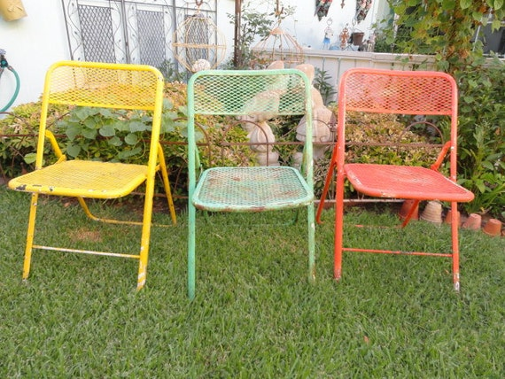 Vintage Metal Folding Chair Rustic Garden Green Yellow Orange Shabby Chic