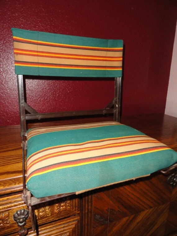 Vintage Camp Chair Stadium Seats Rustic Awning Stripe Fabric