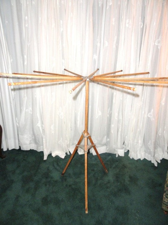 Vintage Clothes Drying Stand Wood Tripod By Bluebonnetfields