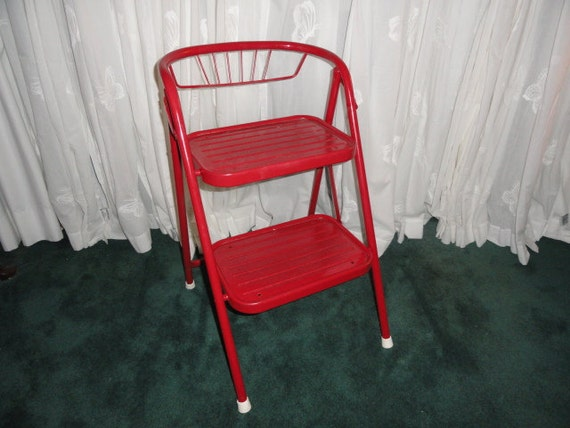 Vintage Utility Step Stool Red Metal 1950s By Bluebonnetfields