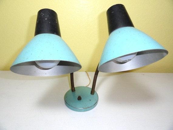 Vintage Lamp Aqua Gooseneck Metal Back to School Desk Double Light MidCentury