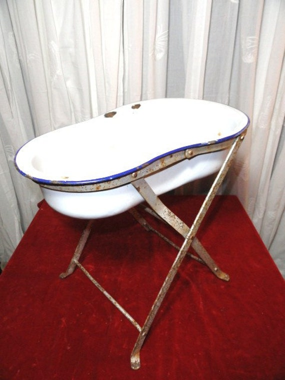 Vintage French Baby Bath Storage Bowl Stand Display Organizer