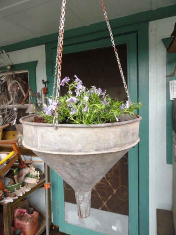 Vintage Industrial Basket Hanging Garden Planter Galvanized Metal Organizer Storage