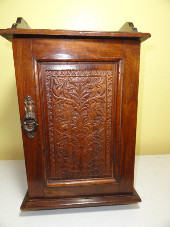 Antique Cabinet Chest Carved Front Storage Display Counter Top