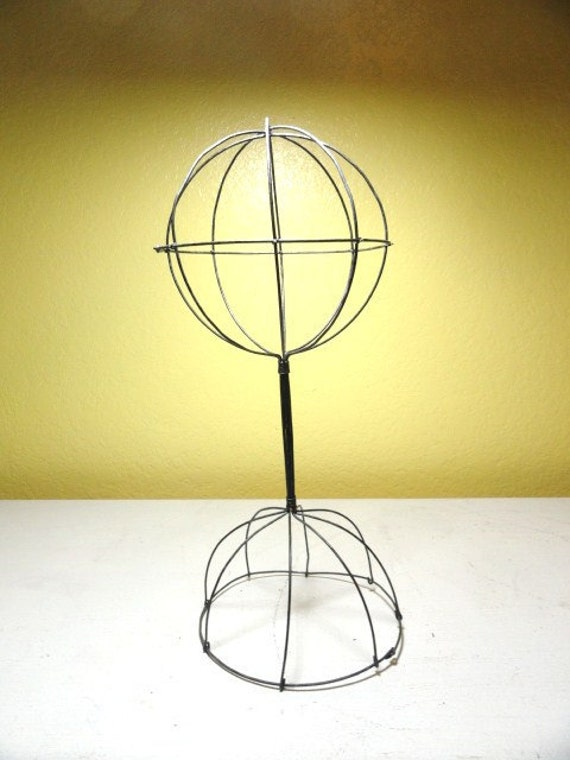 Reserved for Joyce Deming     Vintage Hat Stand Millinery Display Prop Wire Dome Design