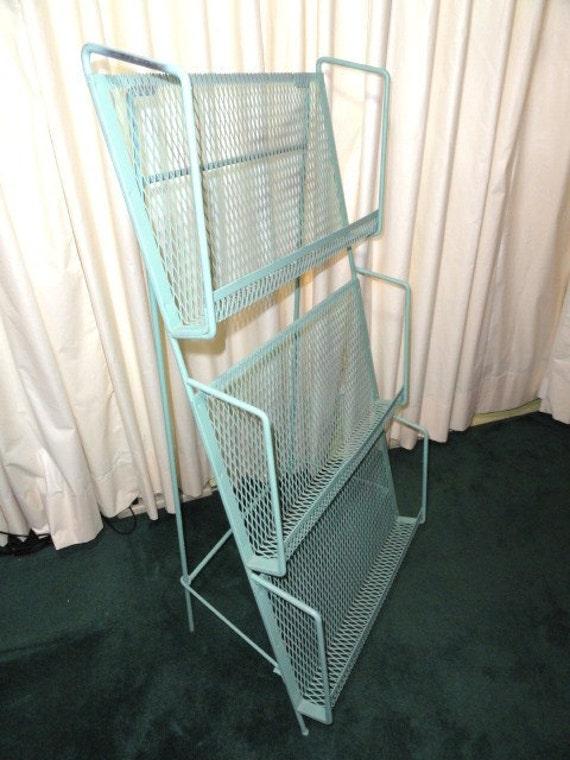 "Vintage Magazine Rack Standing Metal Mesh Green Folding 43"" Tall"