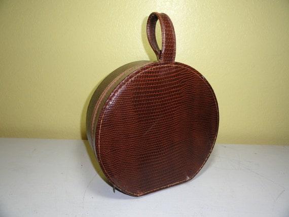 Vintage Luggage Hat Box Travel Display Storage Brown Faux Reptile