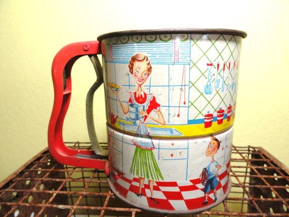Reserved for Yong Suk Park - Vintage Flour Sifter Androck Moms In The Kitchen 1950s