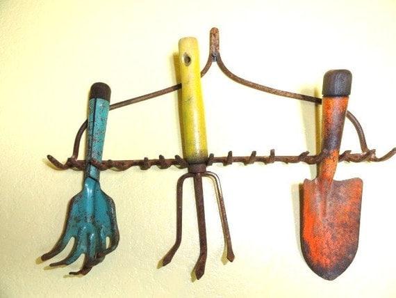 Vintage Garden Tools Rustic Organizer Gardening Rake Shovel Fork