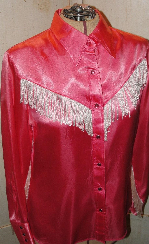 Vintage Shirt Western Cowgirl Pink Satin White Fringe
