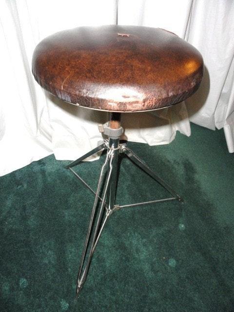 Vintage Stool Mid Century Leather Drum Seat Folding Adjustable