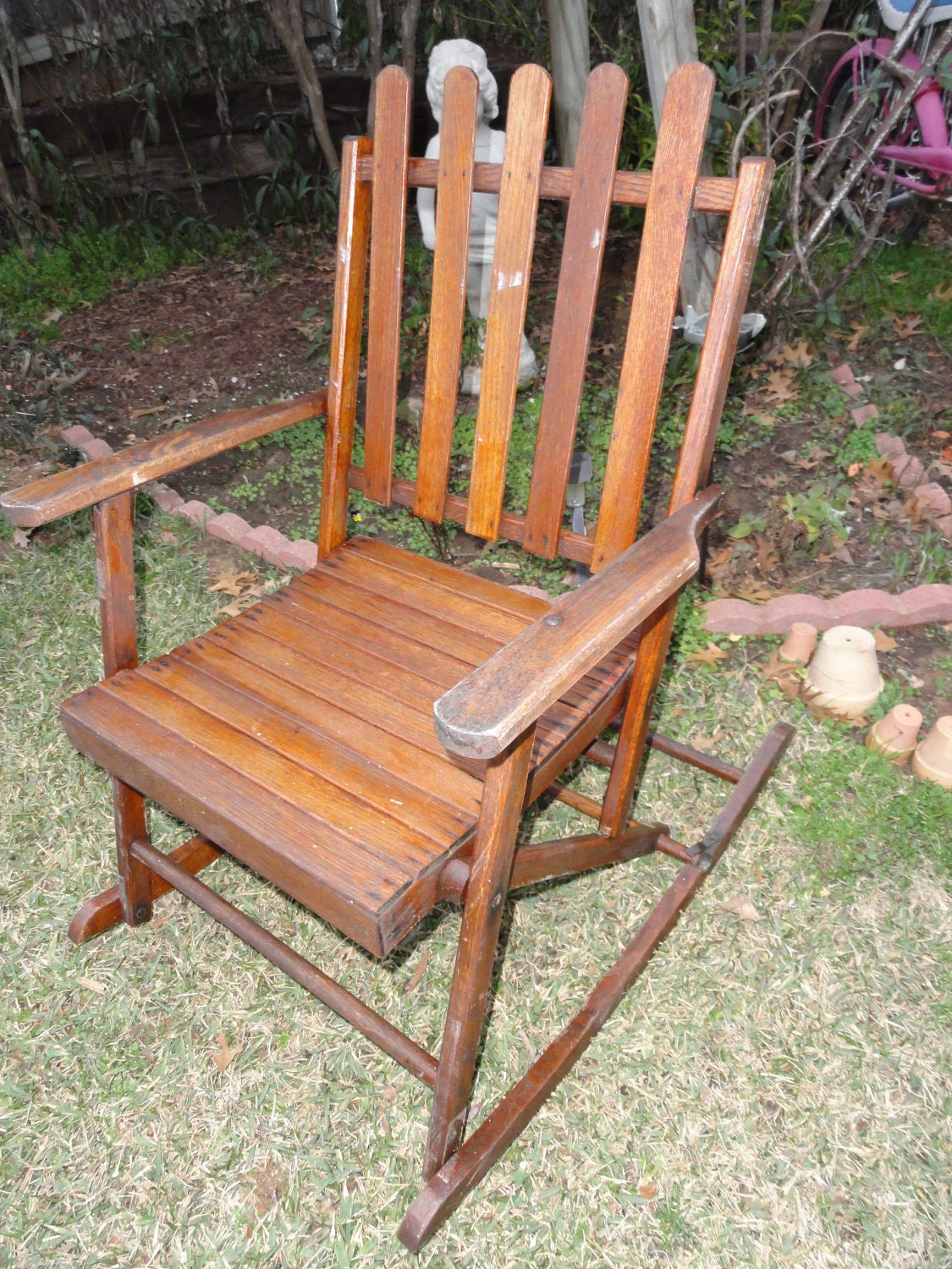 vintage rocking chair folding wood slats 1930s rustic lodge