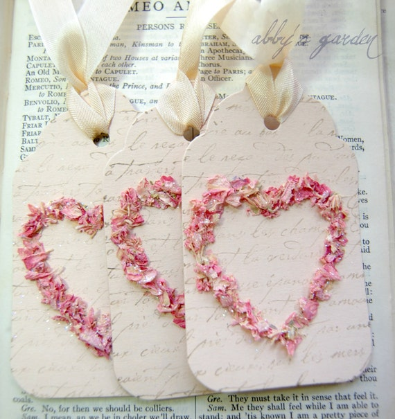 Love Tags...created with real flower petals