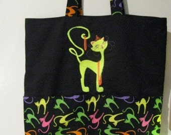 Neon Darling Cat Tote or Eco Friendly Purse