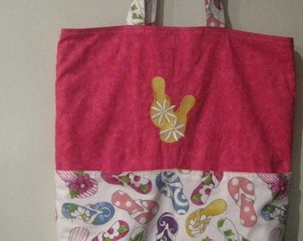 Summer Daisy Flip Flop Eco Friendly Tote, Purse, bag